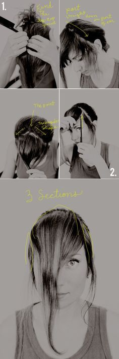 How To Cut Your Own Thick Bangs - A Tutorial - And Then We Saved.  MY NOTES:  I just did this, and they turned out pretty well!  Excellent tutorial, especially useful for those times when you just can't get to the salon!