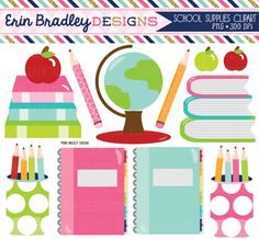 Instant Download Personal & Commercial Use School Supplies Clipart Digital Graphics Set Globe Books Pencils and Notebooks