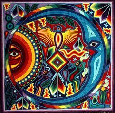 Huichol art - yarn painting is from visions created by peyote used in traditional ceremonies. El Dzidzantunense: Dzidzantún / Arte y Cultura / Arte Mexicano