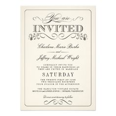 Vintage White Elegant Wedding Invitations How toOnline Secure Check out Quick and Easy...