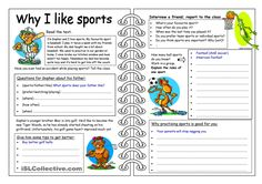 Four Skills Worksheet - Why I like Sports