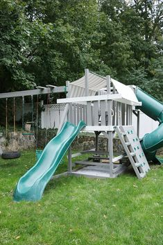 Taking our playground from drab to fab!  Check the before and afters of our backyard playset makeover while on a tight budget || Darling Darleen Top Lifestyle CT Blogger #darlingdblog Backyard Playset, Tight Budget, Home Projects, Playground, Outdoor Living, Lifestyle, Design, Children Playground, Outdoor Life