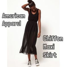 NWOT American Apparel Chiffon Maxi Skirt Everyone needs this American Apparel Classic in their wardrobe! Perfect layering piece for year round. Unlined beautiful flowing black chiffon skirt with a elastic waist band. Not a full maxi; see where it hits on the girl in the first photo, but could be floor length on us super shorties! Love mesh see thru styles from AA? Check out the micro mesh pants I have listed! Bundle and save! Near perfect NWOT condition. American Apparel Skirts Maxi