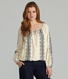 Nurture Emrboidered Peasant Blouse #Dillards