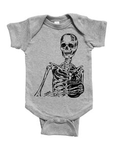 Skeleton Baby One Piece - Boy Romper - Jumper - Baby Clothes - New Mom Gift - Baby Shower Gift - Infant Girl - Infant Boy - Hand Printed Gifts For New Moms, Skeleton, Baby Shower Gifts, Onesies, Infant, Baby Boy, Rompers, One Piece, Printed