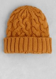 Wool cable-knit beanie