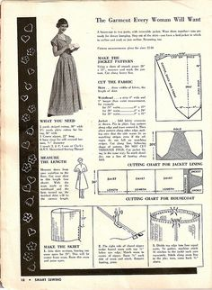 "1950 HOUSECOAT pattern drafting instructions. ""The Garment Every Woman Will Want""- by Smart Sewing via Shay, flickr"