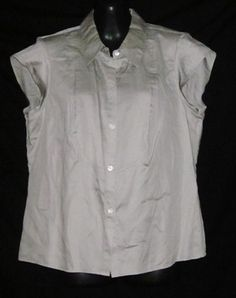 Calvin Klein Size 10 Blouse NEW NWT Womens Size 10 Top Ladies Large Shirt Gray ~$24.99