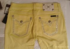BUCKLE MISS ME CRYSTAL LEMON YELLOW THICK STITCH LOW RISE SKINNY JEANS SZ 27 NWT