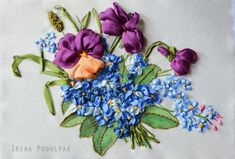 Silk ribbon embroidery kit  Bunch of violets