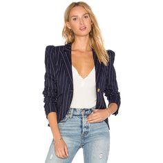 ed3dcfeb Shop for Smythe Pouf Sleeve One Button Blazer in Navy Pinstripe at REVOLVE.