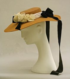 American Straw #Hat trimmed with flowing black ribbons, dated from the mid-19th century. Source: MET. #Victorian