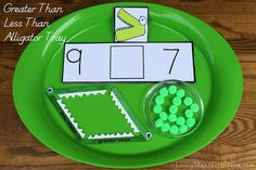 Greater Than Less Than Alligator Tray :) Jodi from The Clutter-Free Classroom {www.CFClassroom.com}