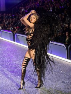 Gigi Hadid Wore a Sweatshirt & Angel Wings at the Victoria's Secret Dress Rehearsal