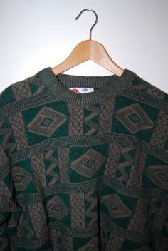 1990's Green Geometric Aztec Patterned Men's Cosby Style Sweater