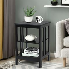 Made of selected quality and spray-painted finish board, this side table is waterproof with durable construction. Comes with two open compartments, this side table offers enough storage space for a flower vase, decorative lamp or various reading materials. The smooth surface of the end table prevents children and the elderly from injuring. And it is a perfect decoration with elegant and stylish design. Plus, it is easy to assemble with instructions and required accessories.