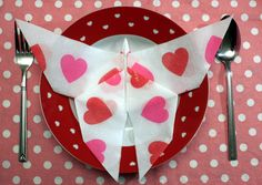 Butterfly paper napkin fold for kids party.