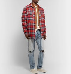 Fear Of God Checked Regular-fit Brushed-cotton Shirt In Plaid Fashion Advice, Fashion News, Mens Fashion, Flannel Outfits, Men's Outfits, Mr Porter, Grunge Fashion, Work Wear, Plaid