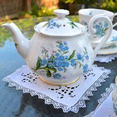 1950s Royal Albert English Bone China Teapot Forget Me Not Flowers Small 3/4 Pt