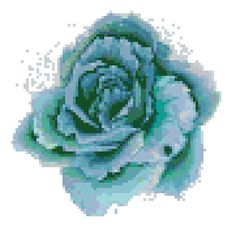 Blue Watercolour Rose Flower Modern Counted Cross Stitch