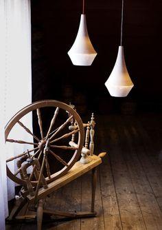 embossed ceramic lamps: Norwegian designers Vibeke Skar and Ida Noemi Vidal presented ceramic pendant lights with embossed surfaces.