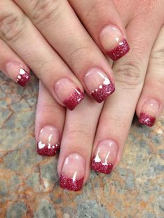 Red Tip Nail Designs Ideas red with hearts valentine nail art heart nails heart Red Tip Nail Designs. Here is Red Tip Nail Designs Ideas for you. Red Tip Nail Designs lovely red tip nail design nail art design from coolnailsart. Heart Nail Designs, Valentine's Day Nail Designs, Acrylic Nail Designs, Nails Design, Acrylic Nails, Glitter Acrylics, Gel Nails French, French Manicures, Glitter French Manicure