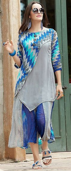 Buy Cool Blue-Gray Designer Printed Georgette Kurti at Rs. latest Partywear Kurti for womens at Ethnic Factory. Abaya Fashion, India Fashion, Fashion Dresses, Stylish Dresses, Simple Dresses, Casual Dresses, Kurta Designs, Blouse Designs, Indian Designer Wear