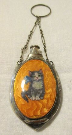 Antique Enameled Kitty Compact/Perfume Bottle w/ Original Puff