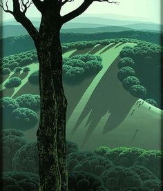 Green Hillside, 1970, by Eyvind Earle (1916–2000)