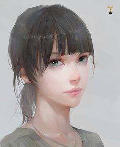 Beautiful anime style portrait, almost has a watercolor style. Digital Portrait, Portrait Art, Manga Art, Anime Art, Girl Pose, Drawn Art, Anime Kawaii, Art Graphique, Belle Photo