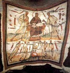 Jesucristo acompañado de Pedro y Pablo.