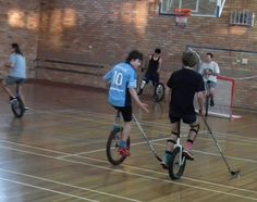 Unicycle Polo. Richard Lees says there's 2 games a week now.