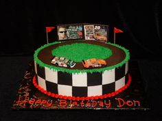 I will be making this cake (with a Kyle Busch car.)