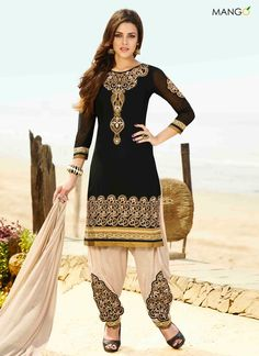 ATTRACTIVE BLACK GEORGETTE PATIALA SUIT  CODE:-7149 PRICE:-2124/-