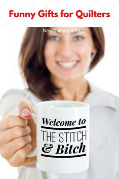 Ready to dish the dirt with your quilt-loving friends? Do it over a cup of your favorite drink. Lovable black-and-white ceramic mug is the perfect gift for anyone who loves quilting. Microwave and dishwasher safe. Quilting For Beginners, Quilting Tips, Birthday Gifts For Sister, Sister Gifts, Perfect Gift For Her, Gifts For Her, Customised Mugs, Quilted Gifts, My Sewing Room