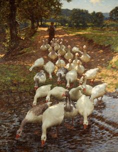 Geese goose pond Henry Herbert LaThangue (1859-1929