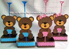 Pinkie Blue Artigos para festa: Ursinho marrom e rosa e marrom e azul -centro de mesa de eva ursinhos