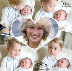 Prince George and Princess Charlotte with inset of Princess Diana.