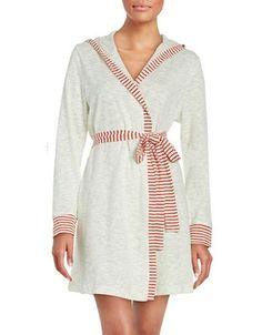 Splendid Textured Hooded Robe Women's Stripe X-Small