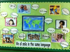 Language & Culture bulletin board idea - We All Smile in the Same Language - by display board ideas School Displays, Classroom Displays, Classroom Themes, Classroom Helpers, Back To School Bulletin Boards, Classroom Bulletin Boards, Class Decoration, School Decorations, Multicultural Bulletin Board