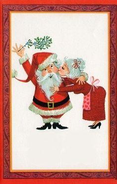 Santa and Mrs. Childrens Christmas, Christmas Couple, Christmas Scenes, Christmas Past, Christmas Holidays, Vintage Christmas Cards, Christmas Greeting Cards, Vintage Cards, Decoupage
