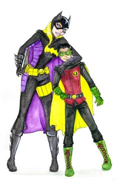 Stephanie Brown the current Batgirl and Damian Wayne the current Robin. **This is a re-post from an old account** I know Damian hated Stephanie but I think she was a key factor in helping him to be like a normal kid. Batgirl And Robin, Robin Dc, Batman Robin, Son Of Batman, Batman Family, Talia Al Ghul, Stephanie Brown, Tim Drake, Damian Wayne