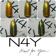 Step by step handpainted green and gold christmas nailart - using gelpolish