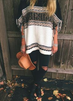 FREE PEOPLE LABYRINTH PONCHO & CARRERA HEEL BOOT, JOE'S JEANS, NATLAIE B…
