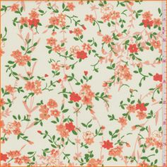 Ivory background with an orange, peach and grass green tossed floral print. This polyester/cotton fabric is lightweight and has a soft hand.Compare to $9.00/yd