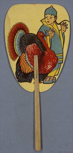 Chinaman with a turkey Spanish hand fan, 1920-40