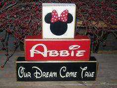Primitive Personalized Minnie Mouse Wood Sign Shelf Blocks Dreams Do Come True Nursery Kids Room Decor Baby Girls Boys Kids. $21.99, via Etsy.