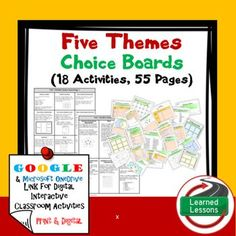 Geography Five Themes Choice Board Activity Pages (Paper and Google Drive)This is part of a BIG BUNDLE to save $$$$. VISIT MY STORE AND FOLLOW TO GET UPDATES WHEN NEW RESOURCES ARE ADDED Includes: -2 pages of choices--15 Activities-55 Template Pages (1/2 Black/White and 1/2 Color) -Paper and Link for Google Drive Version Instructions for using this packet: Option 1: These pages can be given to students and the teacher can have the students complete all activities as they study the…