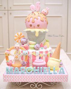 Sixth Birthday Cake, Candy Theme Birthday Party, Birthday Cake Girls, Macaron Cookies, Kawaii Dessert, Ice Cream Party, Cute Cakes, Party Cakes, Amazing Cakes