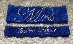 "Wedding Garter Set - Royal BLUE Bridal Garter with SILVER Rhinestone ""Mrs"" Show Garter & Rhinestone ""You're Next"" Toss Garter - other colors by GlitzandGarters on Etsy https://www.etsy.com/listing/110884011/wedding-garter-set-royal-blue-bridal"